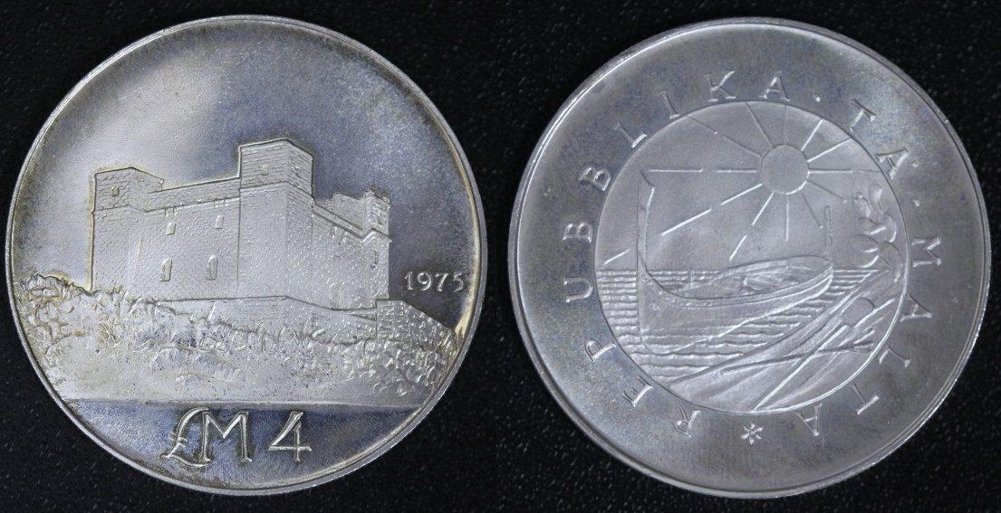 4 Pfund/ Pounds 1975 Malta St. Agatha auf Gammieh vz-st/Rd.uns.