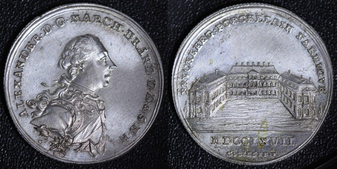 Lotterie-Medaille 1767 Brandenburg Ansbach Bruckberger Porzellanfabrik - kleine Variante gutes vz