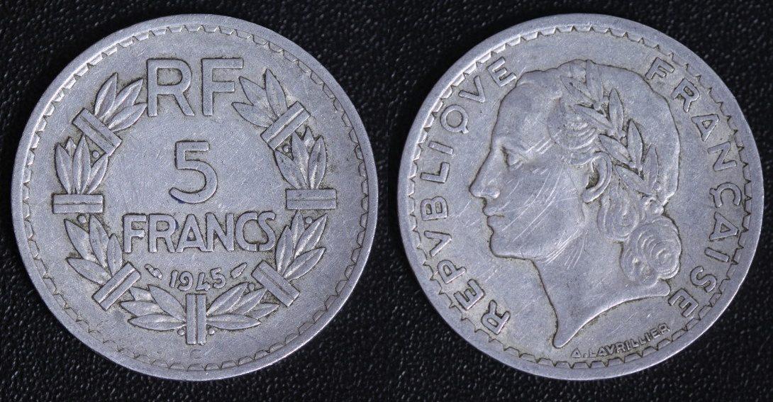 5 Francs 1945 C Frankreich ss/f.Kr.