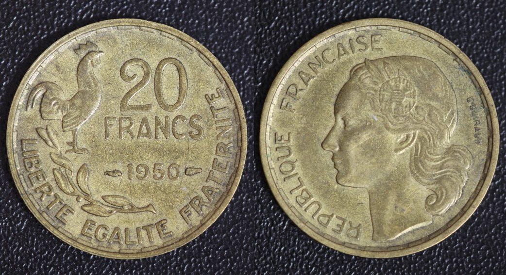 20 Centimes 1950 Frankreich G. Guiraud - 3 Federn ss