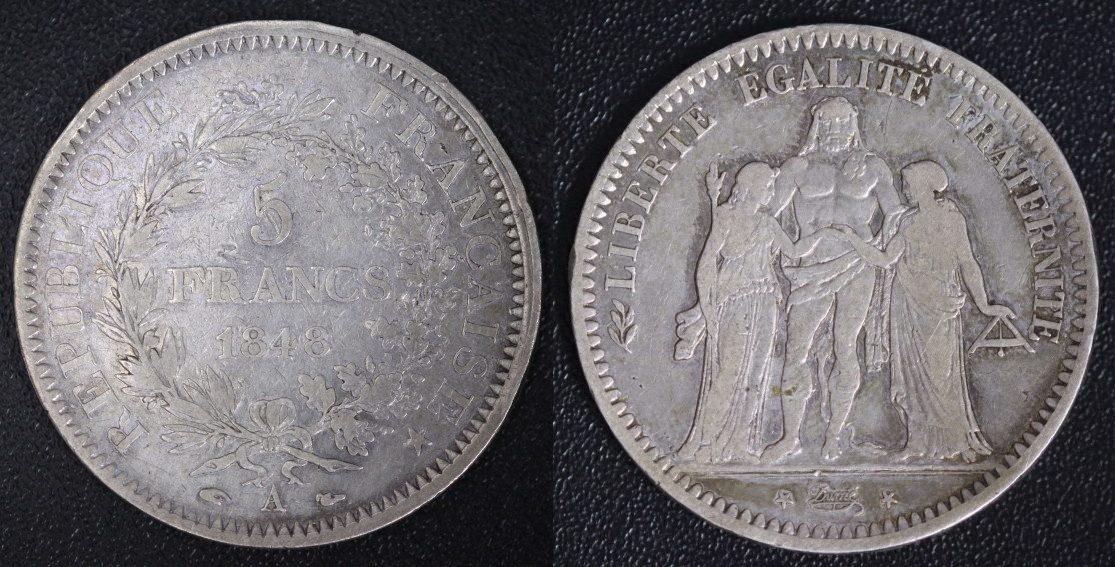 5 Francs 1848 A Frankreich Republik - Paris s-ss