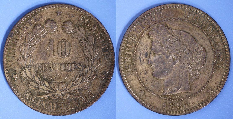 10 Centimes 1881 A Frankreich ss+