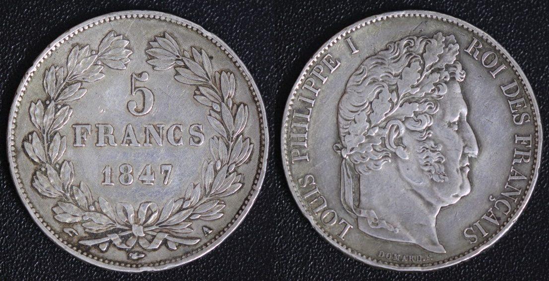 5 Francs 1847 A Frankreich Louis Philippe - Paris f.ss/kl. Randfehler