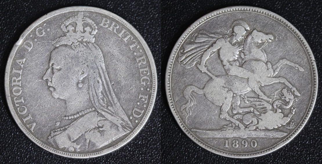 1 Crown 1890 Großbritannien - England Victoria s-ss/Rf.