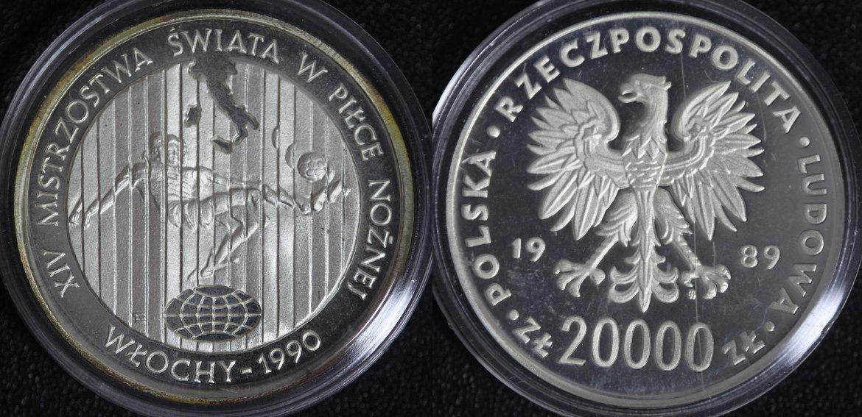 20.000 Zlotych 1989 Polen - Fußball-WM 1990 PP/l.Kr.*