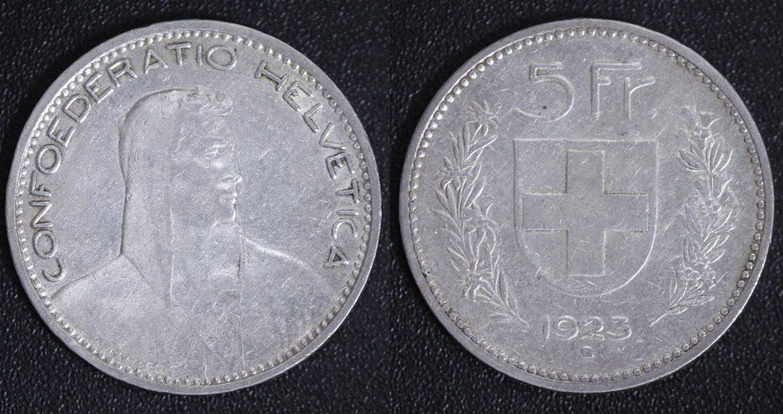5 Franken 1923 B Schweiz Confoederatio Helvetica Ss Ma Shops