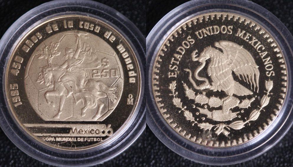 250 Pesos 1985 Mexiko Fußball-WM ´86 PP*/l.Prf.