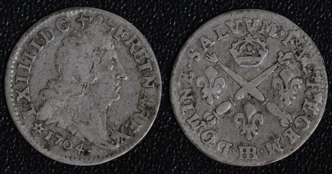 5 Sols 1704 BB Frankreich Ludwig XIV. - Straßburg ss