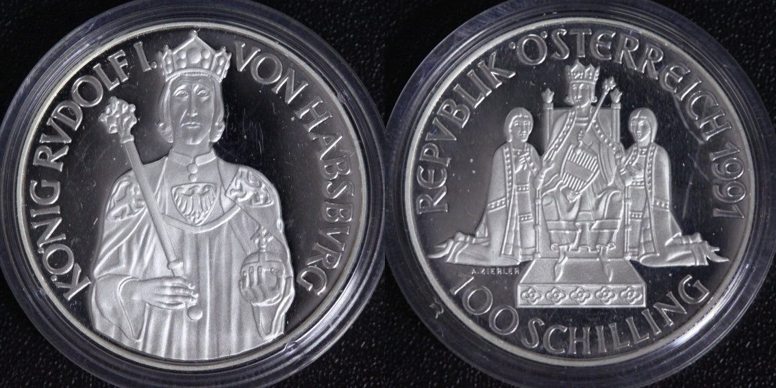 100 Schilling 1991 Österreich Rudolf I. v. Habsburg PP/ ohne OVP&Zert.