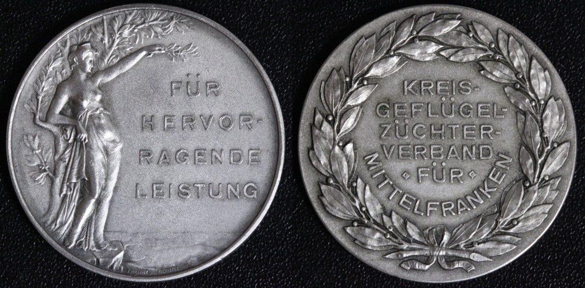 Medaille o.J. Mittelfranken Kreis-Geflügelzüchter-Verband gutes vz/matt.