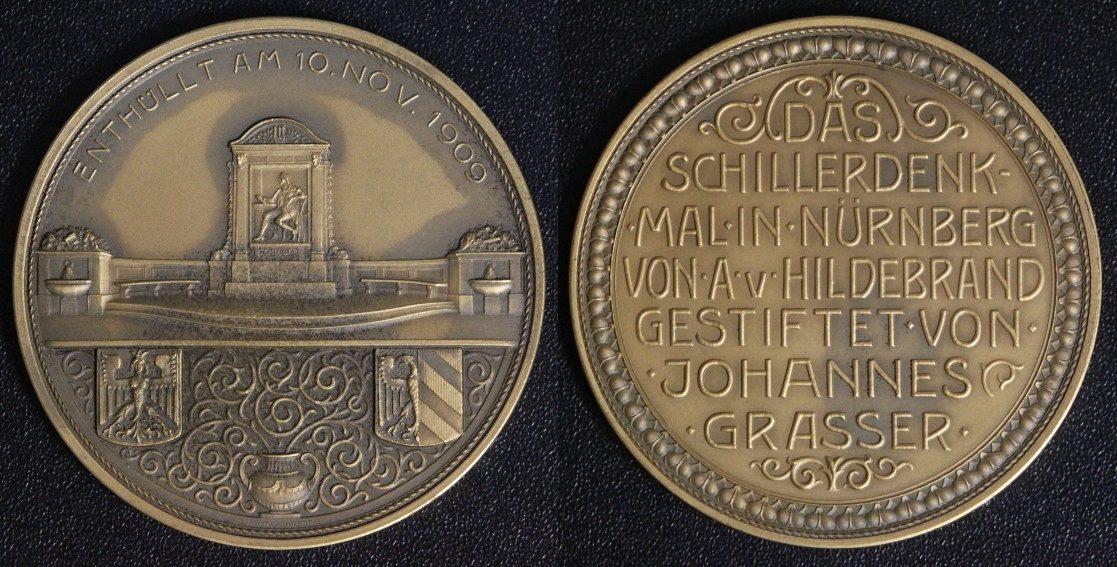 Medaille 1909 Nürnberg Schillerdenkmal st/matt