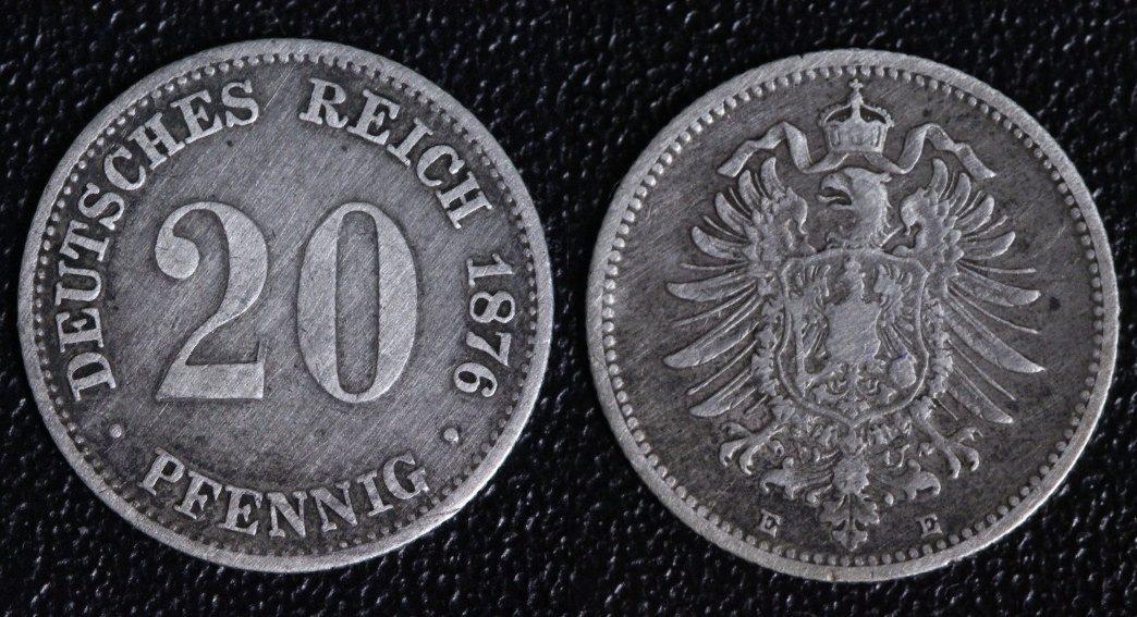 20 Pfennig 1876 E Deutsches Reich ss