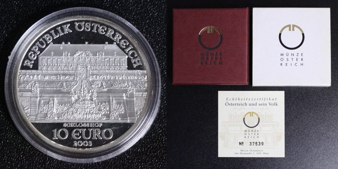 10 Euro 2003 Österreich Schloss Hof PP*/OVP/Zert.