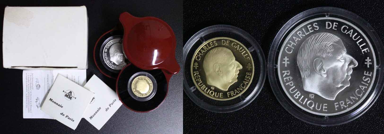 Satz 2x 1 Franc 1988 Frankreich 30 Jahre 5. Republik - Charles de Gaulle - GOLD & SILBER PP*/OVP/Zert.