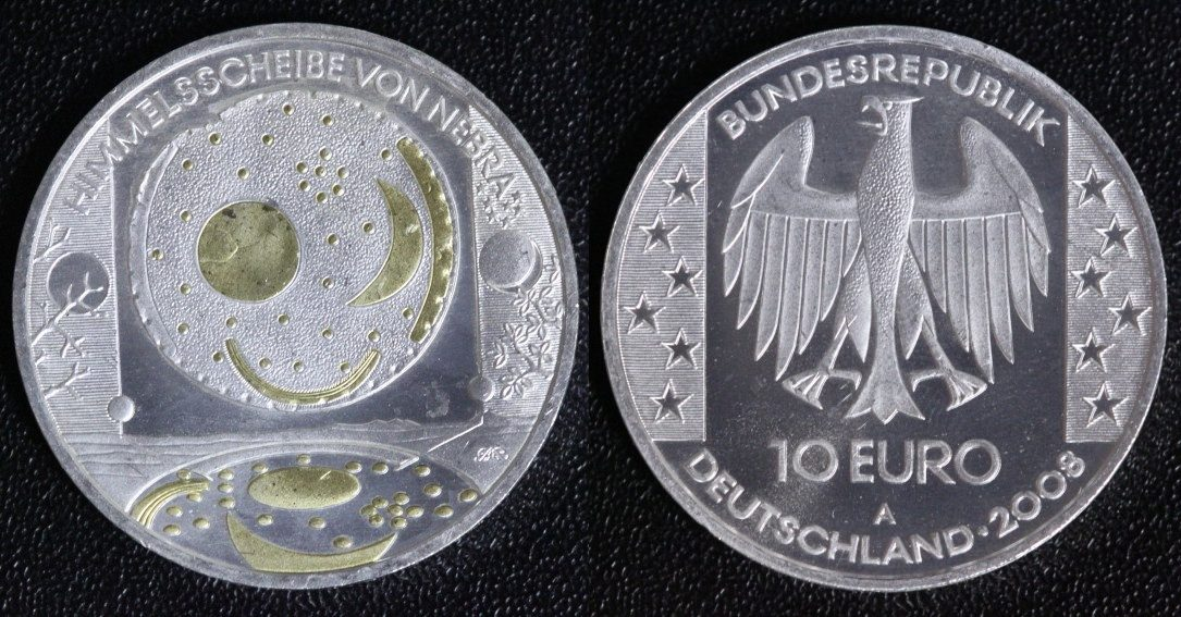 10 Euro 2008 A Brd Himmelsscheibe Von Nebra Teilvergoldet Ma Shops