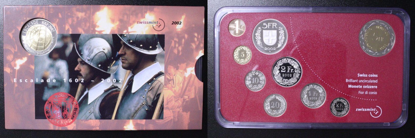 Kursmünzensatz 2002 B Schweiz Kursmünzensatz - 1 Rappen bis 5 Franken + 5 Franken Gedenkmünue Escalade st/Orig.