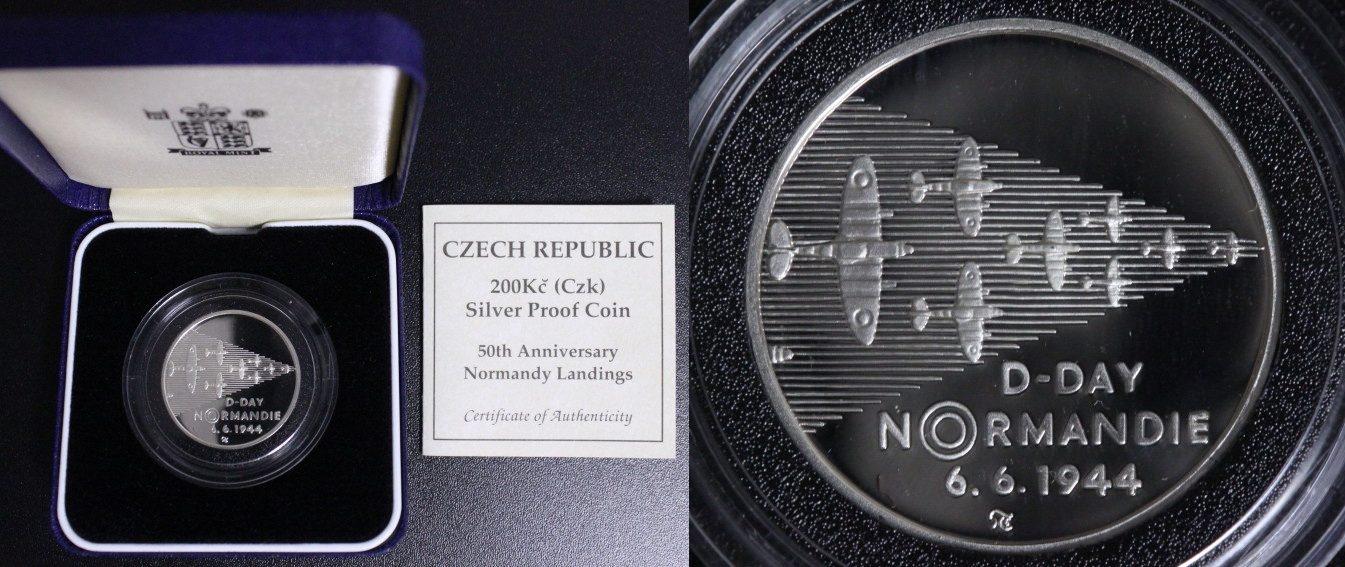 200 Kronen 1994 Tschechien - Czech Republik D-Day - Normandie - glatter Rand - seltene PP PP/OVP/Zert.