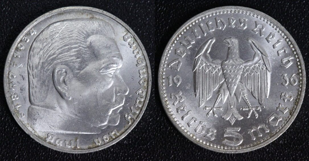5 Mark 1936 D 3 Reich Paul Von Hindenburg Vz Stminkrrf Ma Shops