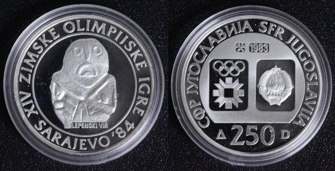250 Dinara 1983 Jugoslawien Olympische Spiele 1984 Sarajewo - Artefakt Lepenski Vir PP*