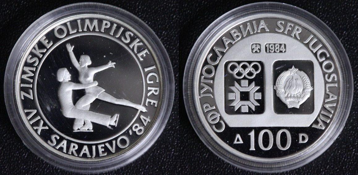 100 Dinara - Silber 1984 Jugoslawien Olympische Spiele 1984 Sarajewo - Paarlauf PP*
