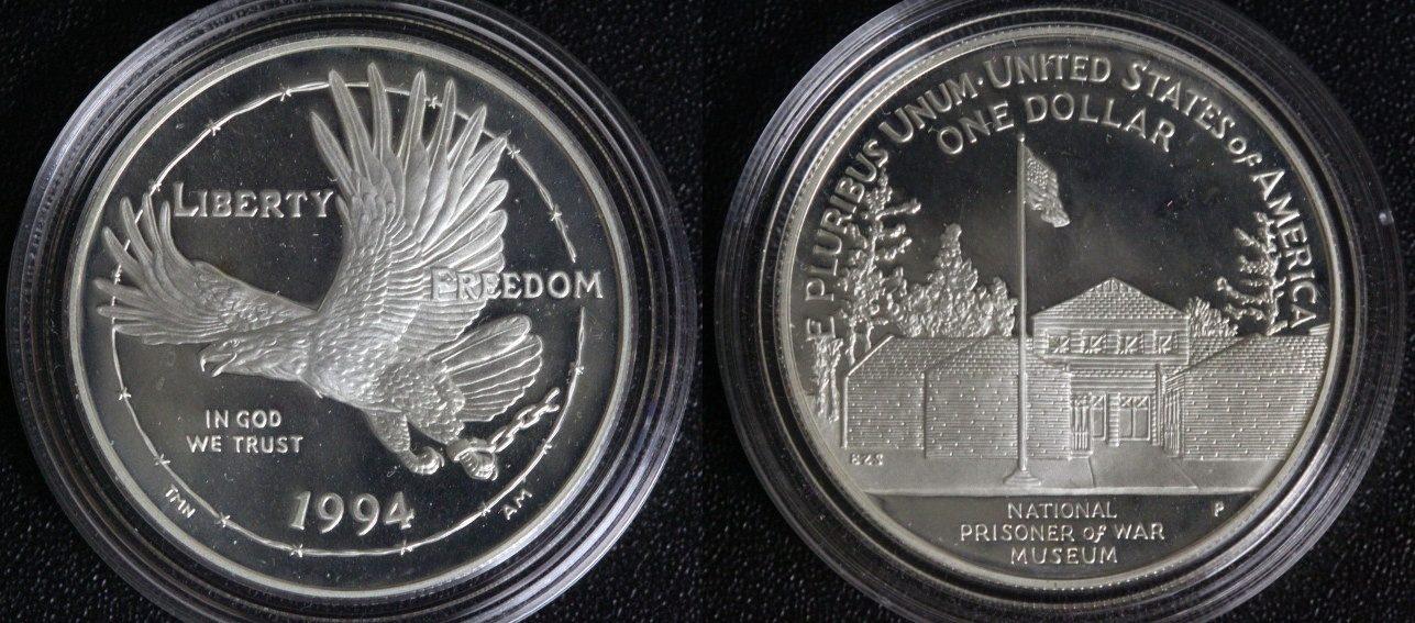 1 Dollar 1994 P USA Nationales Kriegsgefangenen-Museum PP*/l.Pat.