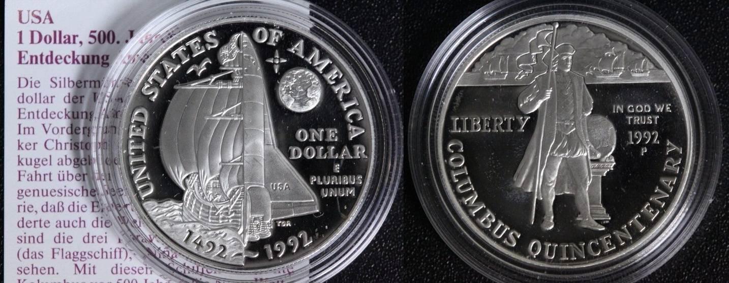 1 Dollar 1992 S USA 500 Jahre Entdeckung Amerikas PP*/Mnzp.