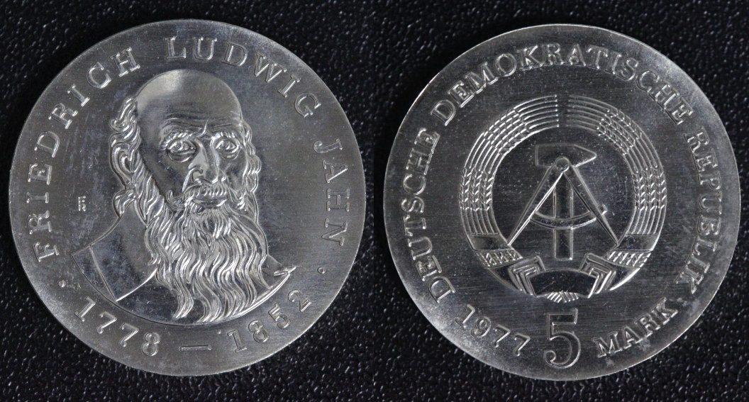 5 Mark 1977 DDR Friedrich Ludwig Jahn f.st