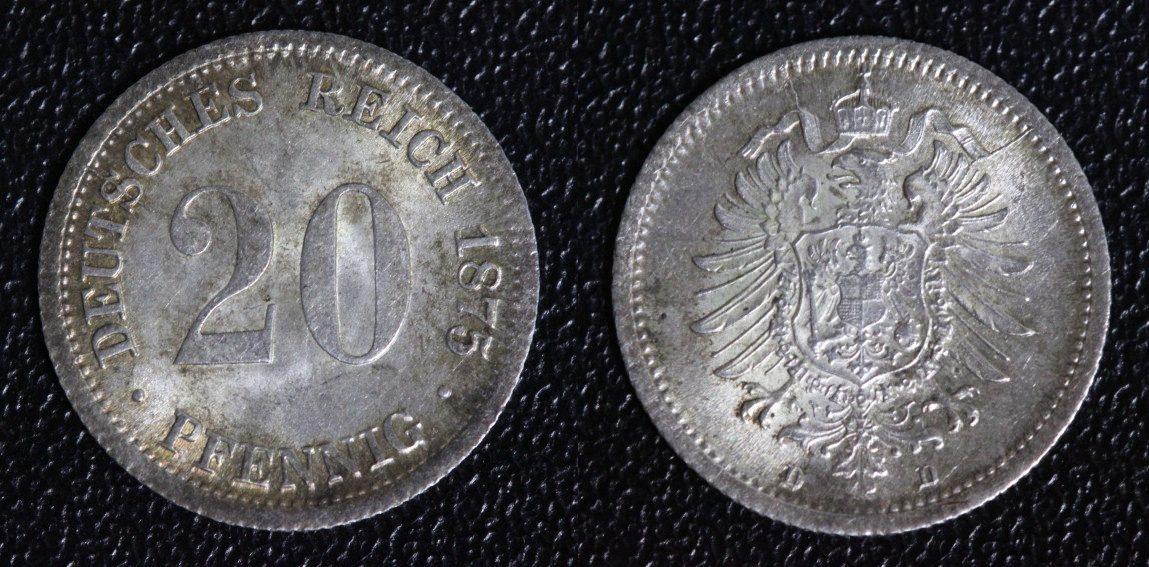 20 Pfennig 1875 D Kaiserreich vz-st/Pat.