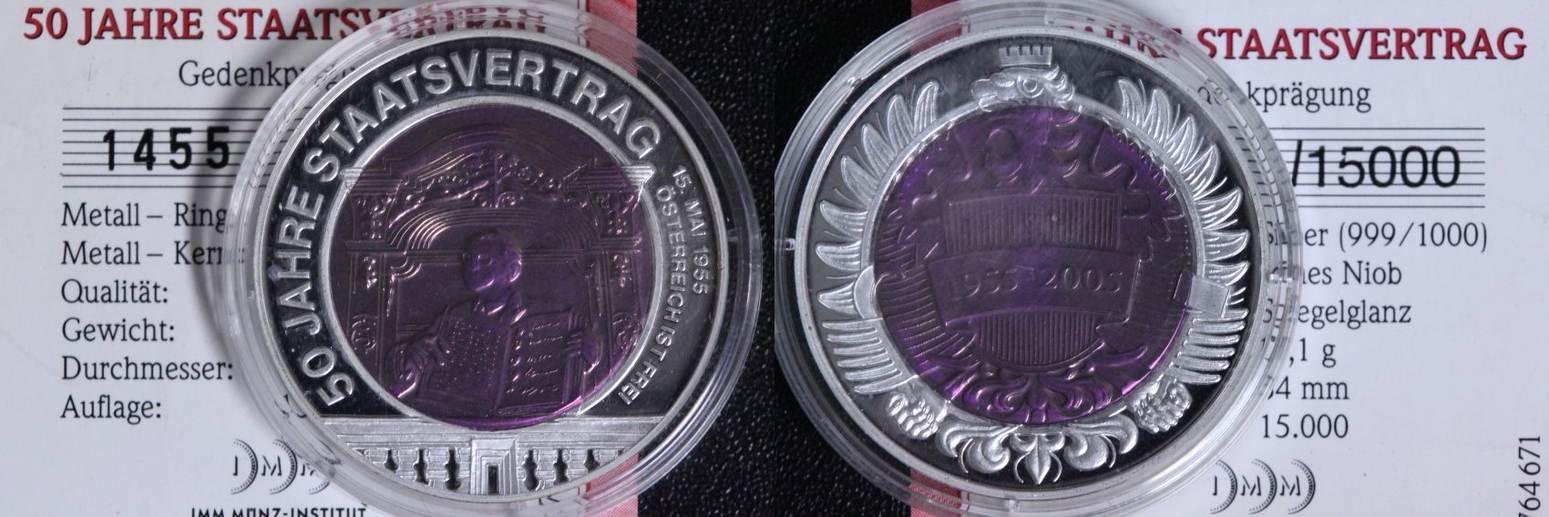 Medaille 2005 österreich 50 Jahre Staatsvertrag 1955 2005 Niob