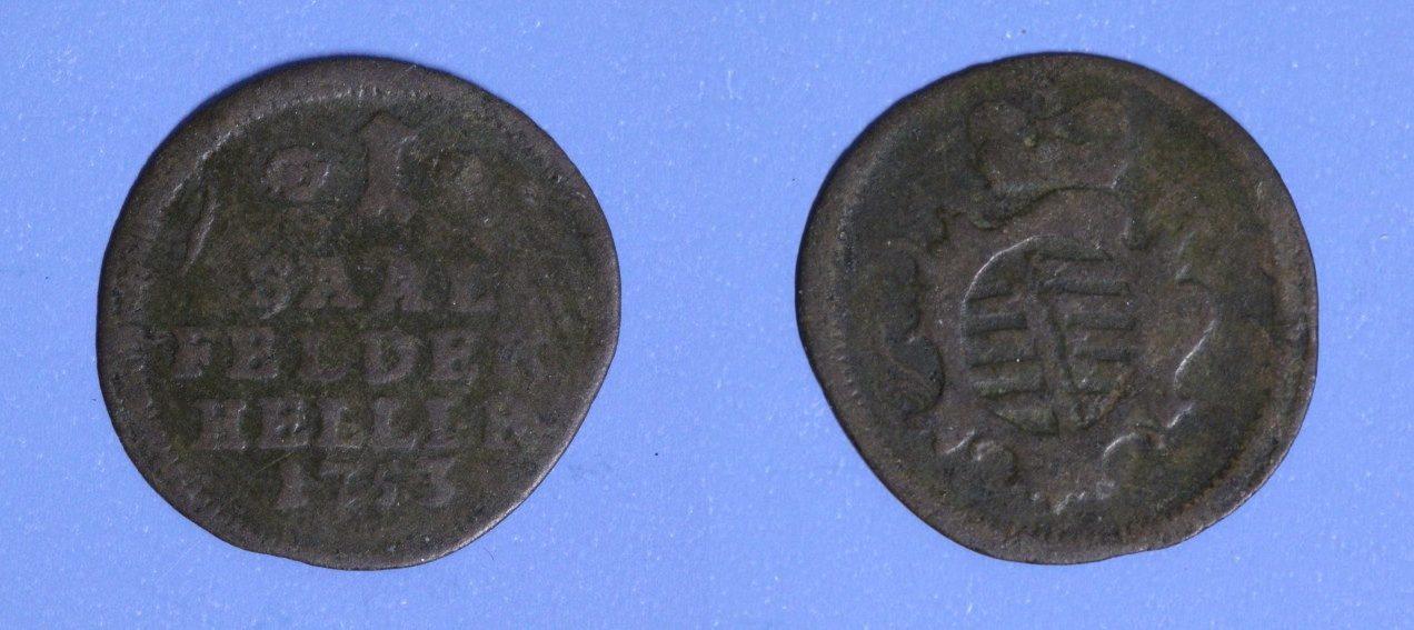 1 Heller 1753 Sachsen - Saalfeld Franz Josias s