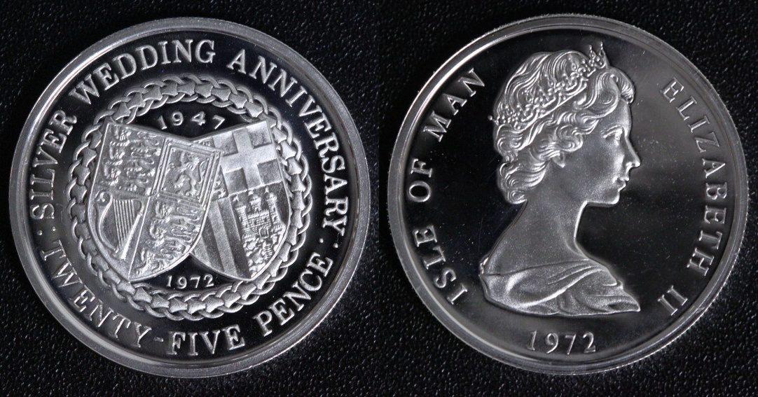 25 Pence 1972 Isle of Man 25-jähriges Hochzeitsjubiläum - Elisabeth II. (Silber) PP/l.Belagspuren*