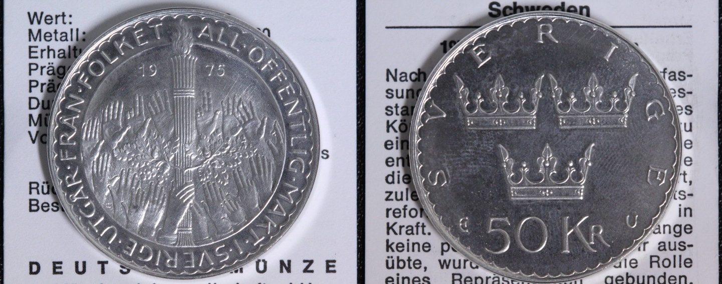 50 Kronen 1975 Schweden Parlamentsreform f.st/Münzpass