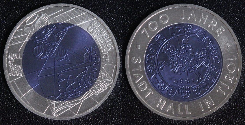 25 Euro 2003 österreich 700 Jahre Stadt Hall In Tirol Niob St