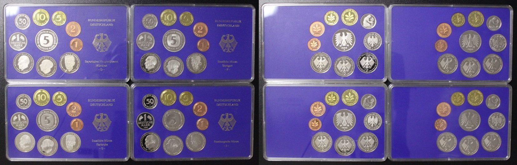 KMS 1986 D-J BRD Deutschland, Kursmünzensatz komplett (4 Platten DM) PP/OVP*