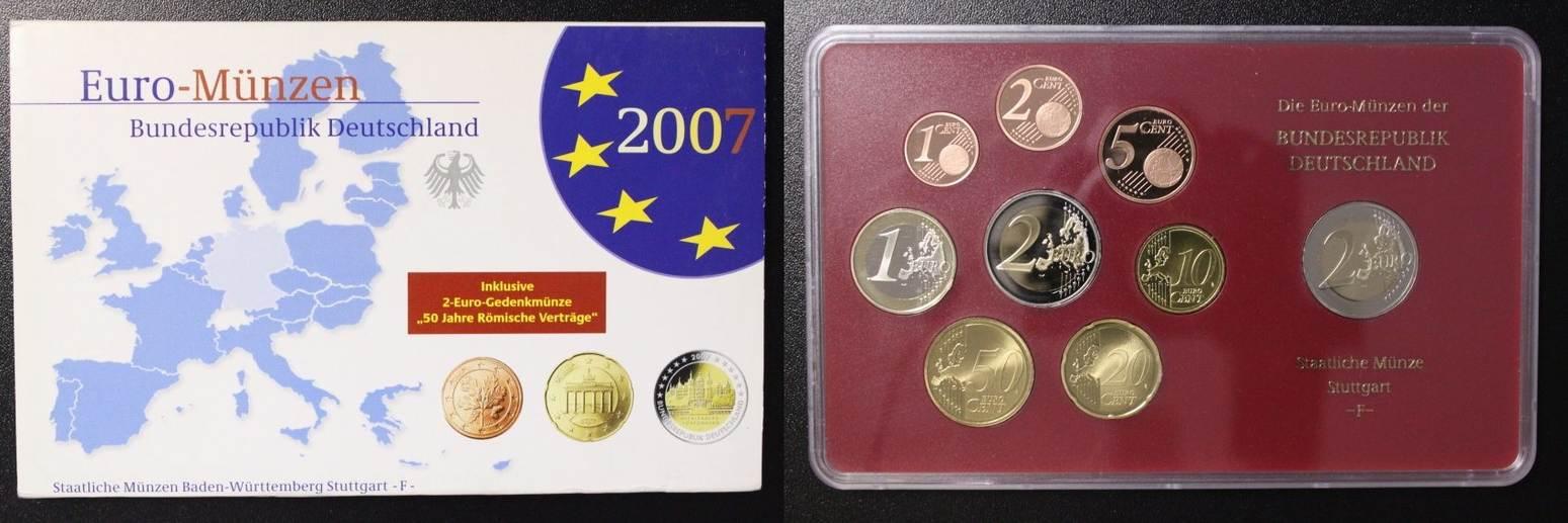 KMS 2007 F BRD Deutschland, Kursmünzensatz 2007 F - incl. 2 Euro Römische Verträge PP