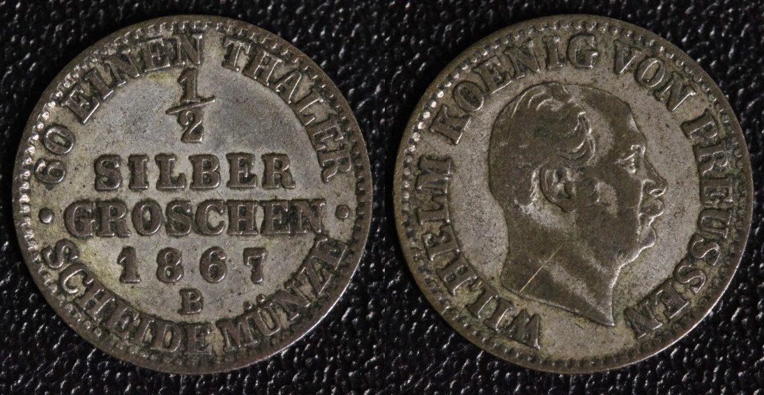 1/2 Silbergroschen 1867 B Preußen f.ss