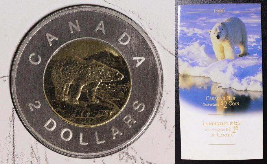 2 Dollars 1996 Canada Polarbär BU/OVP
