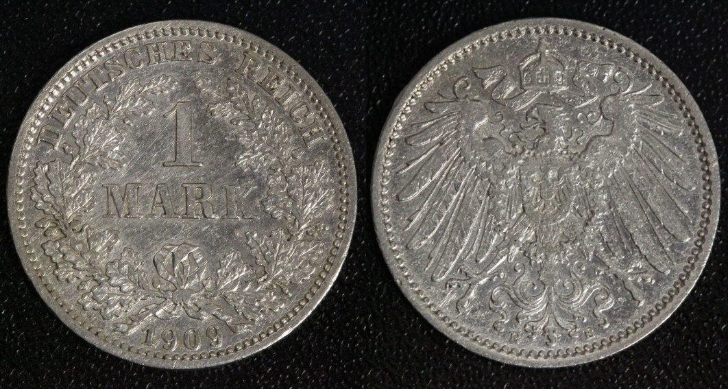 1 Mark 1909 E Kaiserreich ss/ rauer Schrötling