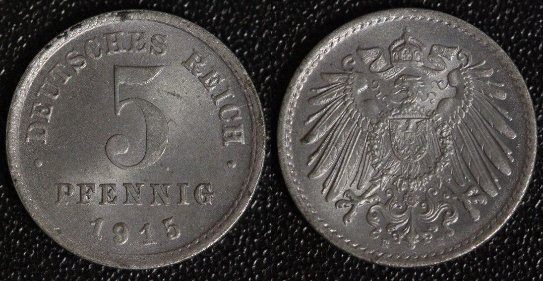 5 Pfennig 1915 E Kaiserreich Eisen vz-st/ min. fleckig