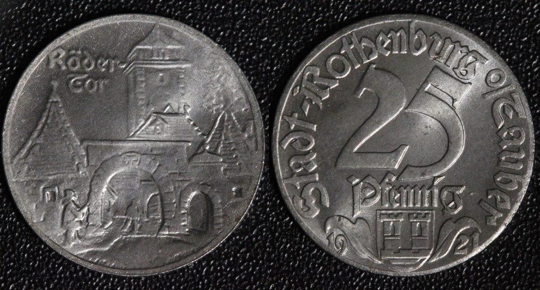 25 Pfennig 1921 Rothenburg Rödertor - Notgeld - tolle Erhaltung vz+