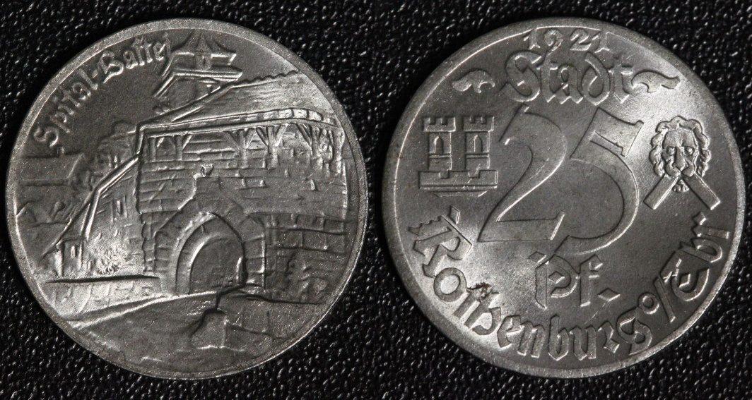 25 Pfennig 1921 Rothenburg Spitalbastei - Notgeld - tolle Erhaltung vz+