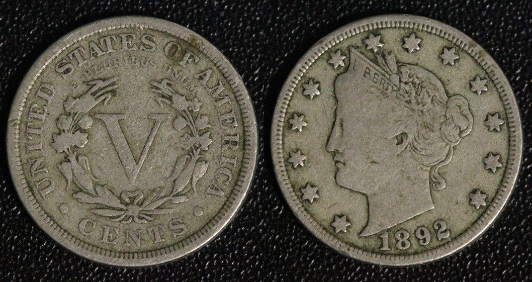 5 Cents 1892 USA Liberty f.ss