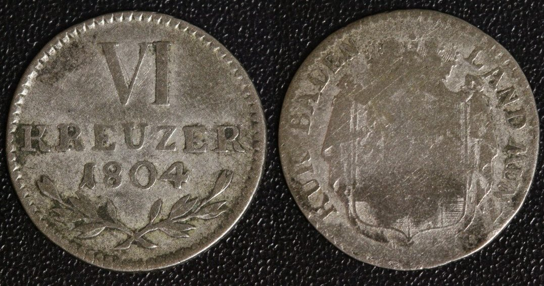 6 Kreuzer 1804 Baden selten s