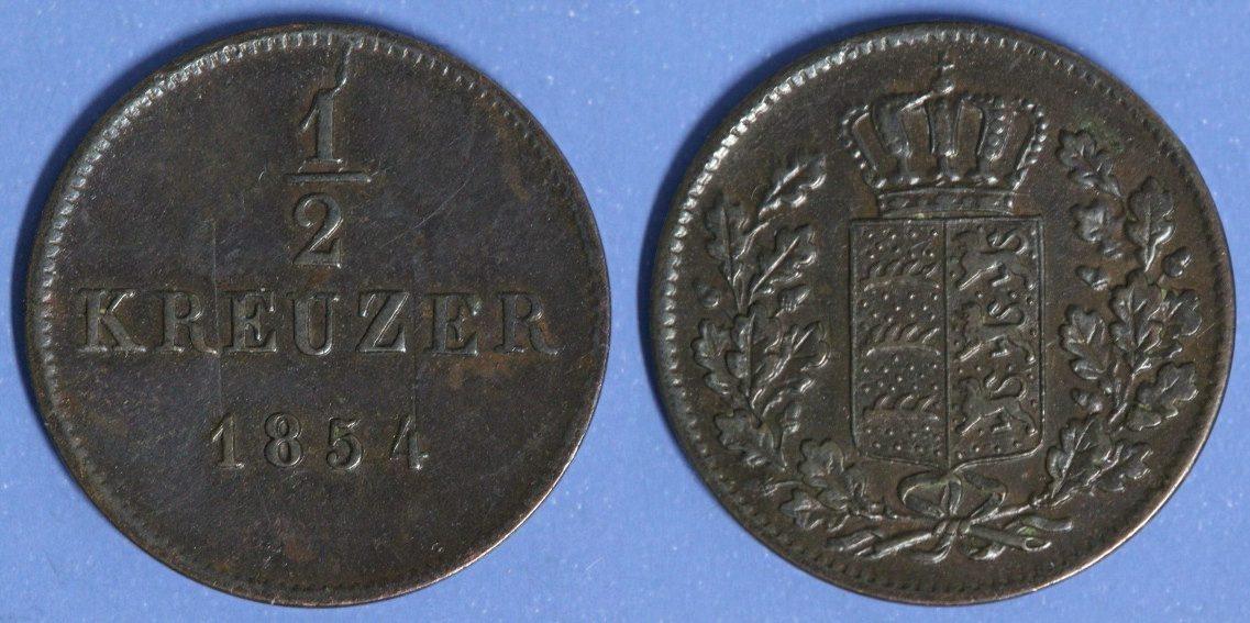 1/2 Kreuzer 1854 Württemberg Wilhelm I. ss+