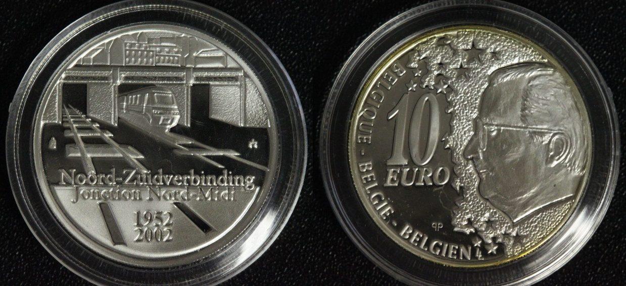 10 Euro 2002 Belgien 50 Jahre Nord-Südverbindung in Brüssel PP*/ l. Patina