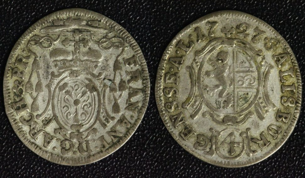 4 Kreuzer 1727 Salzburg Franz Anton v. Harrach f.ss