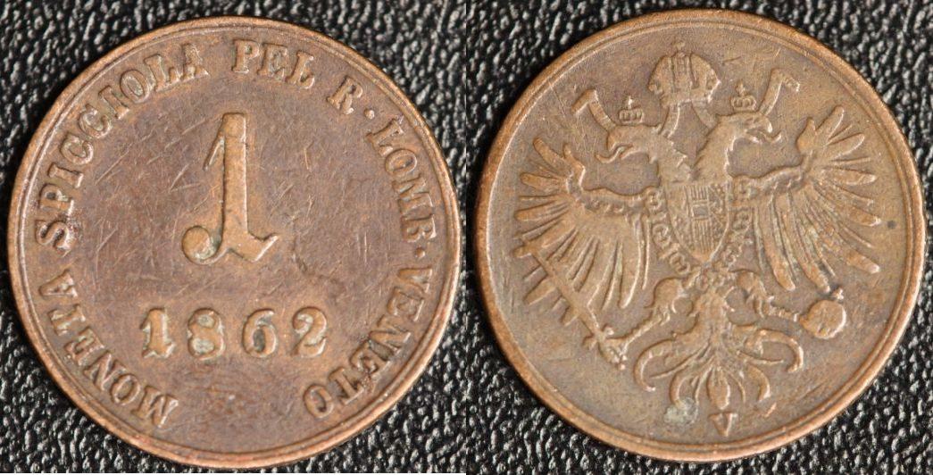 1 Soldo 1862 V Österreich Lombardei & Venetien fast ss