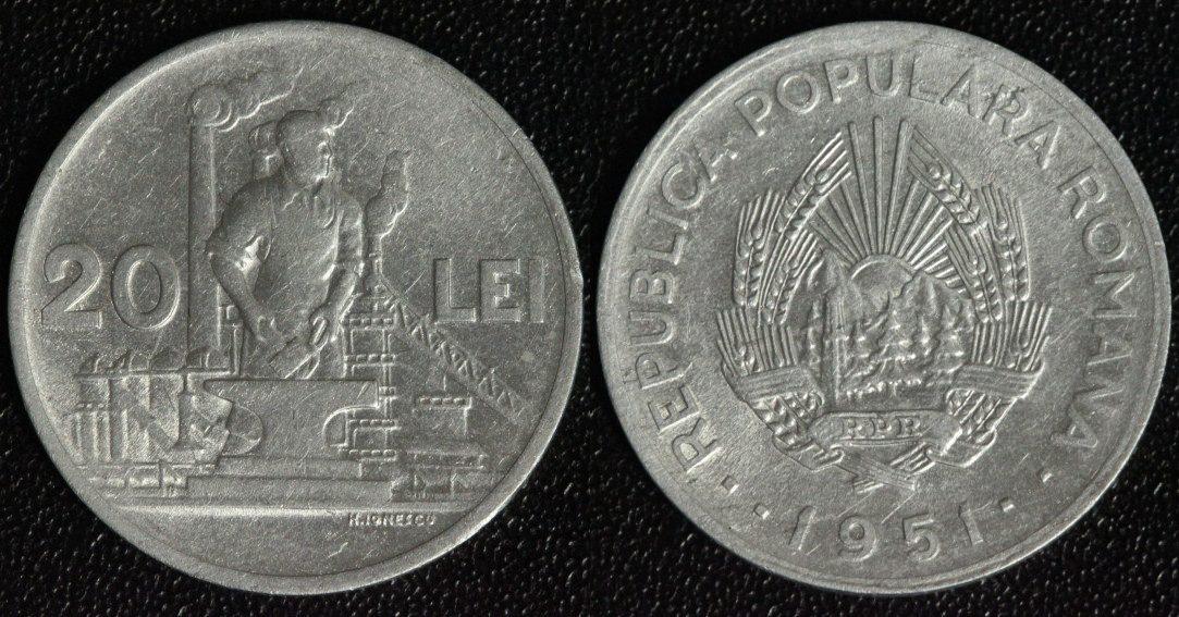 20 Lei 1951 Rumänien selten ss/ fein zaponiert