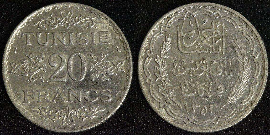 20 Francs 1934/ 1353 Tunesien Ahmad Pasha Bey ss-vz/kl.Fleck