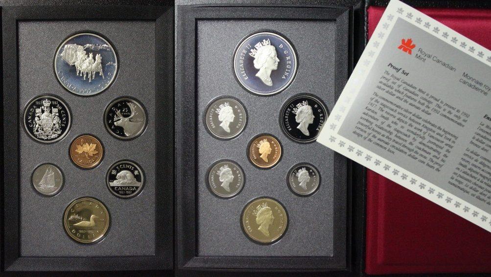 KMS 1992 Canada Set 1 Cent bis 1 Dollar - incl. 1$ Postkutsche - Silber PP/l.Pat./OVP*/Zert.